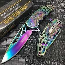 Tac Force Assisted Open Rainbow Titanium Coated Queen Spider Web Fantasy Knife