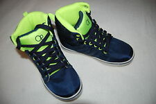 Boys Athletic Shoes NAVY BLUE NEON GREEN HIGH TOPS Lace Up SIZE 3