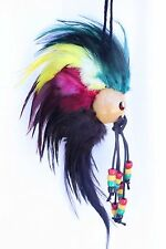 "Ikaika Hawaiian Warrior Helmet Feathers Car Decor 1"" Kamani Nut ~ RASTA #AB11R"