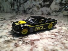 HOT WHEELS 66 FORD MUSTANG 1/50 DIE CAST CAR 1966 BLACK YELLOW