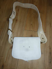 B.H. & G LTD VINTAGE WHITE LEATHER MILITARY CARTOUCHE WITH CROSS BELT