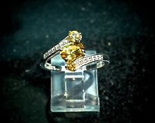925 Sterling Silver 2.5 tcw Natural Citrine Anniversary Ring Size 8