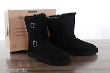 NEW Kirkland Signature Sheepskin Shearling Buckle Black Boots Womens Size 7 MED