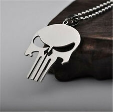 Stainless Steel Silver Super hero The punisher Skull necklace Pendant Necklace
