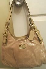 Authentic Coach Gold Embossed Metallic Leather Maggie Shoulder Bag 18932