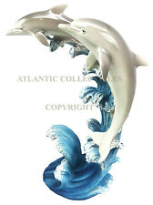 Two Playful Bottlenose Dolphins Rising Over Sea Waves Figurine Ocean Dolphin