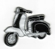 Iron On/ Sew On Embroidered Patch Badge Italian Scooter Lam Bike Black & White