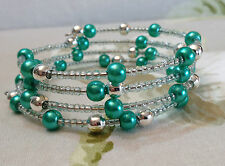 Turquoise Green Glass Pearl Beads Pretty  Memory Wire Bracelet Hand Crafted
