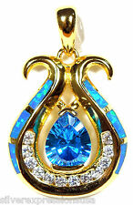 18k Gold Plated  Sterling Silver, Blue Topaz & Blue Fire Opal Pendant Necklace