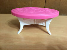 Barbie Doll Coffee Oval Pink End Table Living Room Dream Town House Furniture