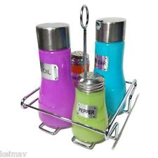 Colored Glass Canister Set 4 Piece with Metal Lid and Rack