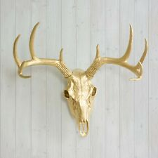Wall Charmers Deer Skull Gold Fake Animal Head Faux Antlers Taxidermy Ceramic
