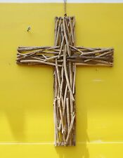 UNIQUE HAND MADE HAND CARVED DRIFTWOOD CROSS DESIGN WALL HANGING 65cm