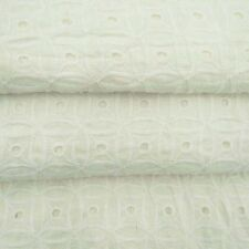 "Designer White Embroidered Cutwork Fabrics Cotton 44"" Wide Fabric By The Metre"