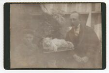 Rare 1890s Cabinet Photo of Father & Son posing with their White Cat