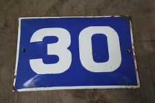 VINTAGE ENAMEL Number  PORCELAIN TIN SIGN Plate HOME / HOUSE DOOR NUMBER 30