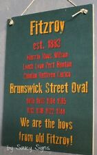 History Fitzroy Lions Aussie Rules Wooden Shed Bar Man Cave BBQ Footy Sign