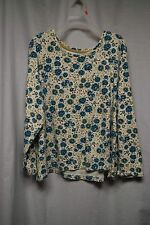 Womens Shirt Size 3X By Basic Editions Blue Floral Pull Over Long Sleeve