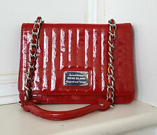 River Island Gorgeous Red Patent Party Evening Clutch Chain Glossy Shoulder Bag