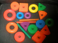 Fisher Price Vintage Toy LOT Plastic Shaped Blocks & wood sticks