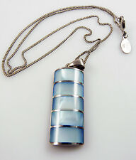 925 Solid Silver & Blue Mother of Pearl Pendant & Chain MOP  9.8 grams  NEXT