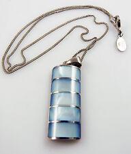 925 argento solido & BLUE MADREPERLA pendant & Catena MOP 9,8 GRAMMI accanto