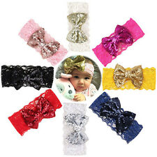 Sale Rose red Kids Baby Girl Sequin Lace Bowknot Hair Band Headband Headwrap