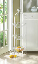 WHITE METAL THREE 3 CORNER BASKET PLANT STAND Fruit Vegetable Kitchen CLEARANCE