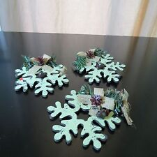 Wooden Christmas Ornaments Country  3 Snowflake 3 Snowman