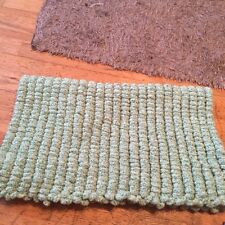 Green Hand knitted Rico Pom Pom blanket approx 22 inch x 32 inch