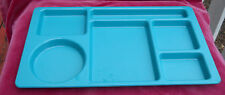 CAMBRO CAFETERIA LUNCH CAMPING TRAYS 4 SCHOOL PICNIC GREEN 6 SECTIONS USA CLEAN