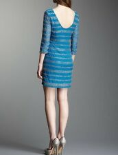 NEW ROMEO & JULIET COUTURE MOROCCAN BLUE BEADED LOW BACK GLENDA DRESS-$300-MED