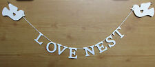 Love Nest bedroom garland sign - wooden, cream, shabby chic, rustic NEW