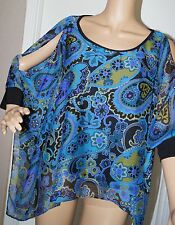 NWT CARTISE Blue Paisley Floral Cutout 3/4 Dolman Wing Sleeve Blouse Size 6 $155