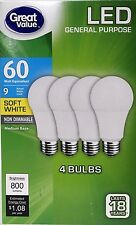 12 x LED 60W ( 60 Watt ) = 9W Soft White 2700K NON DIMMABLE A19