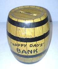 Cute  Metal Vintage Round Barrel Happy Days Piggy Bank By J. Chein & Co. USA