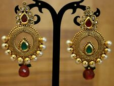 Indian Pakistani Ethnic Bollywood Gold Plated Green Pink  Pearl Jhumki Earring
