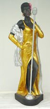 LADY SINGER Motown Resin Figure statue Black Gold Glitter Jazz Sexy Gown shoes