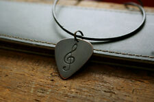 Hand Made Etched Copper Guitar Pick Necklace with a Treble Clef Design