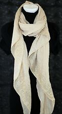 B10  Metallic Gold Foil Beige Spec Wrap Shawl Scarf Boutique