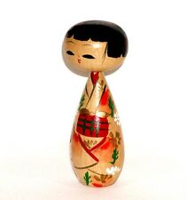 JAPANESE ASIAN WOOD KOKESHI DOLL PRETTY LADY w/ LOVELY KIMONO & BRIGHT RED OBI !