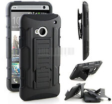 Black Rugged Hybrid Armor Shockproof Case Hard Cover Holster Skin For HTC One M7