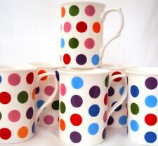 Polka Dots Mugs Set of 4 Bone China Multicolour Spots Cups Hand Decorated in UK