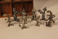(10) Clown Pewter Figures & Wooden Display Case Circus Metal Mini Figurines