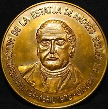 SPAIN INAUGURATION STATUE OF ANDRES BELLO IN MADRID 1972 M.MENENDEZ PELAYO MEDAL