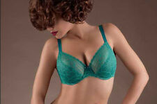 NWOT jet green Chantelle underwire sheer  lace bra 36C 1741