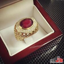 14k Gold Genuine Diamond Ruby Ring Size 7 Estate Mens Estate Vintage Hip Hop