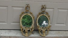 PAIR ANTIQUE 18C FRENCH GILT OVAL SCONCE MIRRORS