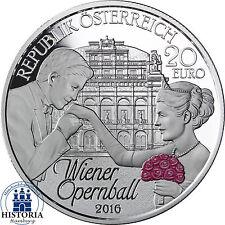 Austria 20 euros de plata 2016 pp el Wiener opernball por primera vez en color