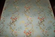 SCALAMANDRE EXQUISITE MEISSEN SILK LAMPAS DAMASK FABRIC 10 YARDS ANIS BLUE MULTI